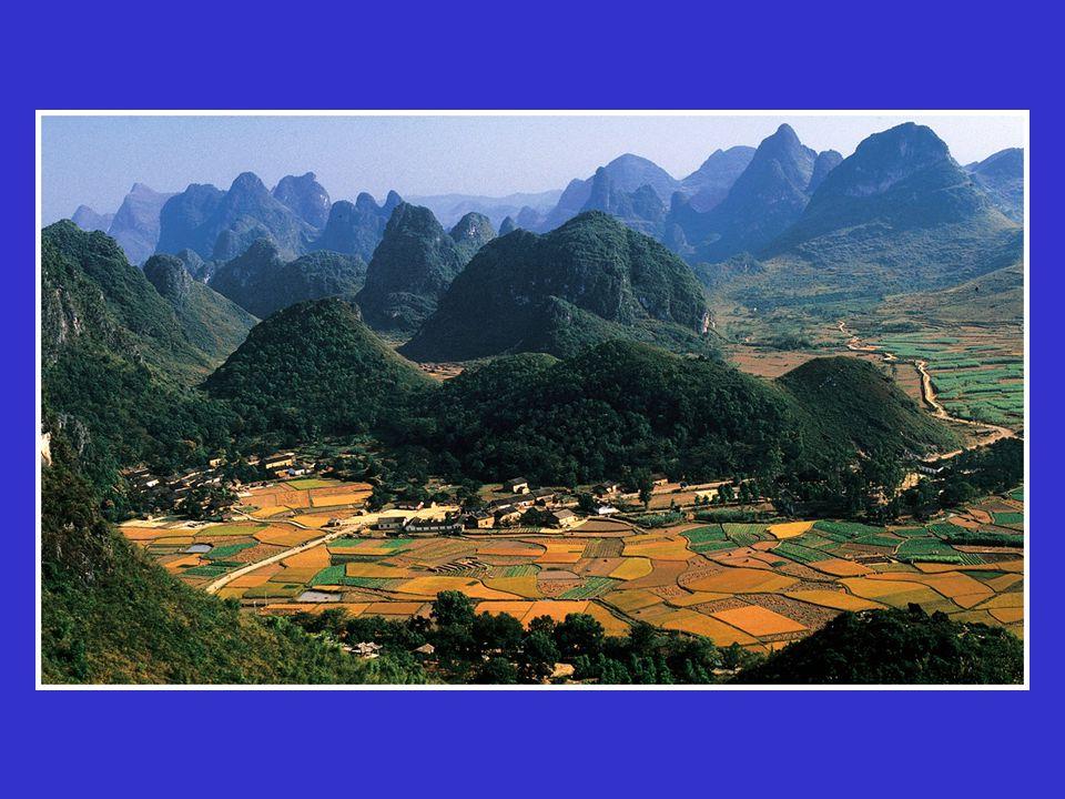 Tower Karst, China. Hills of limestone