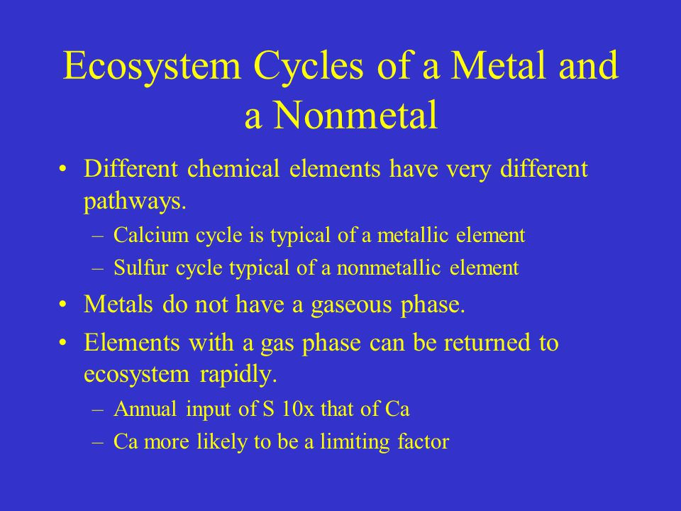 Ecosystem Cycles of a Metal and a Nonmetal