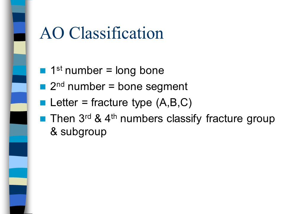 AO Classification 1st number = long bone 2nd number = bone segment
