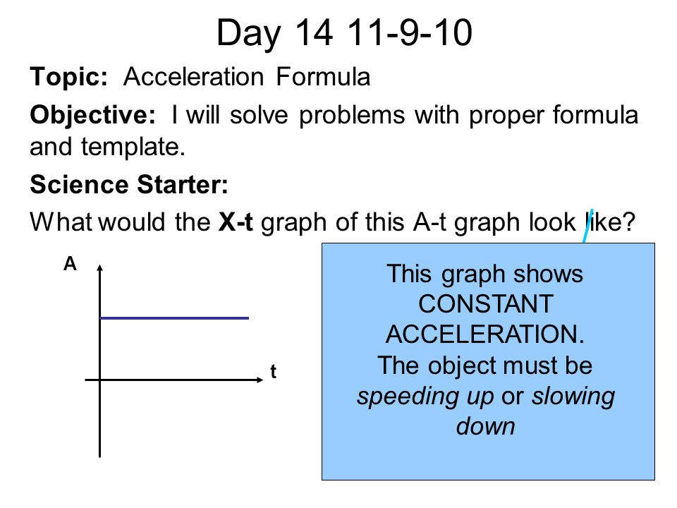 Day 14 11-9-10 Topic: Acceleration Formula