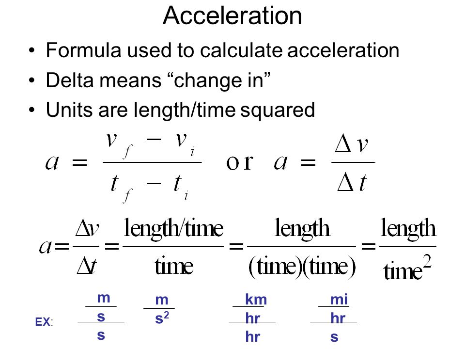 Acceleration Formula used to calculate acceleration
