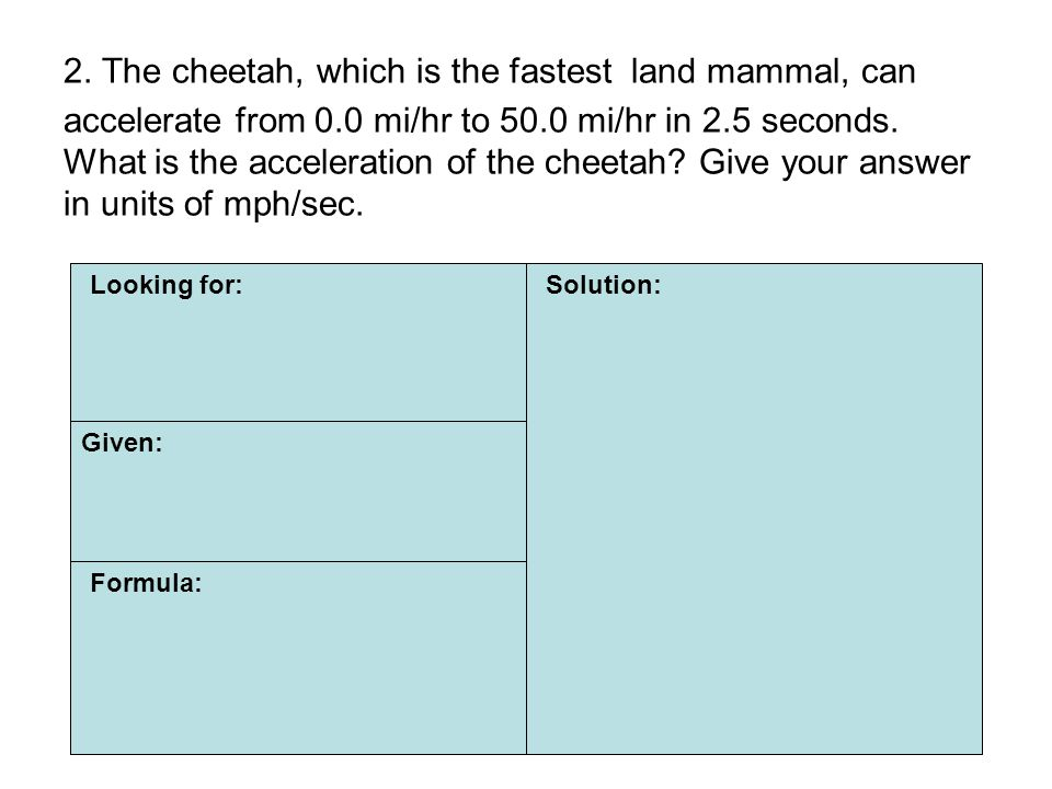 2. The cheetah, which is the fastest land mammal, can accelerate from 0.0 mi/hr to 50.0 mi/hr in 2.5 seconds. What is the acceleration of the cheetah Give your answer in units of mph/sec.