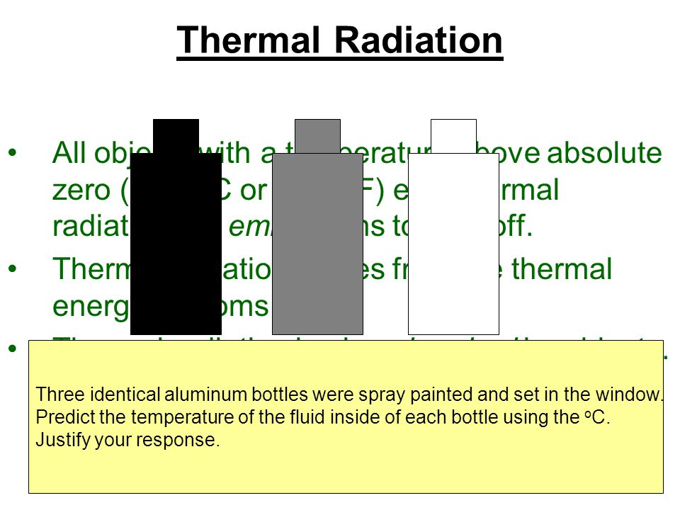 Thermal Radiation All objects with a temperature above absolute zero (-273 °C or -459 °F) emit thermal radiation. To emit means to give off.