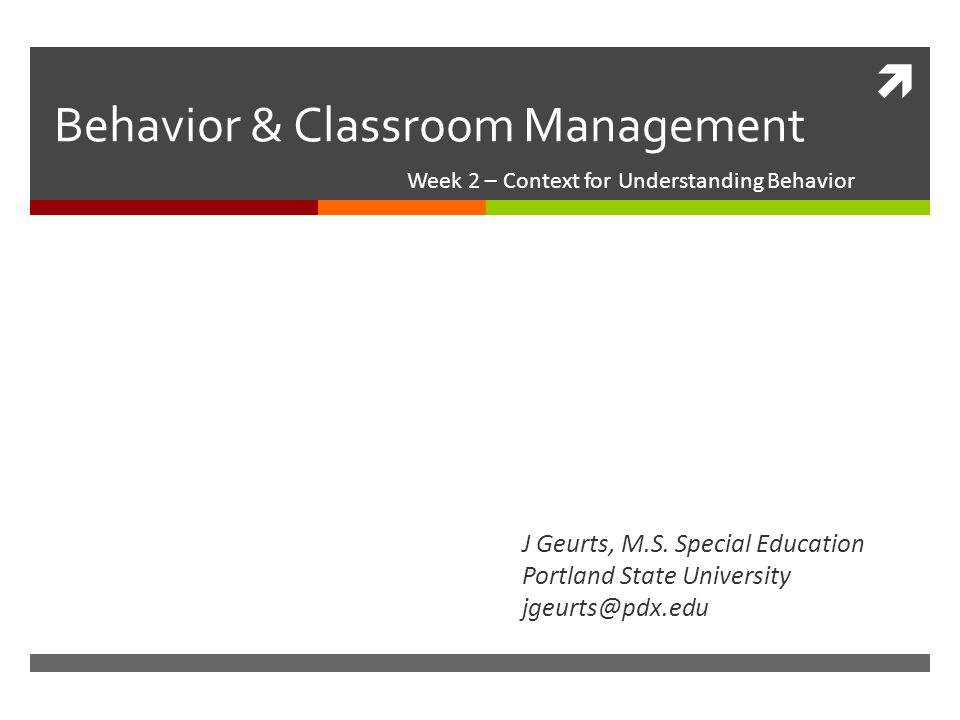 Behavior & Classroom Management