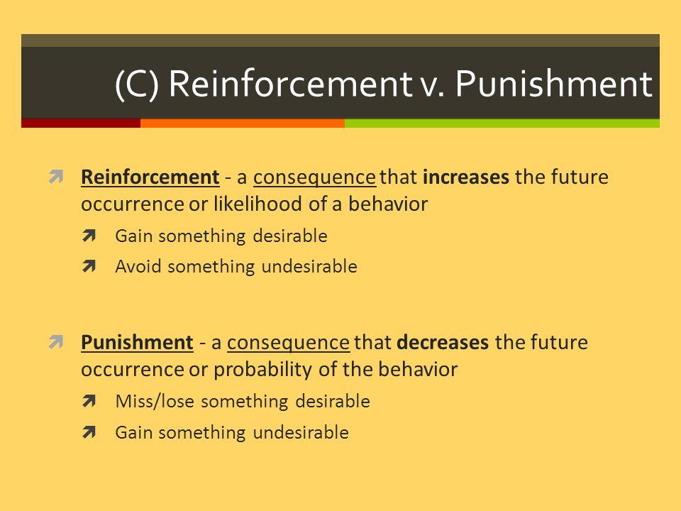 (C) Reinforcement v. Punishment