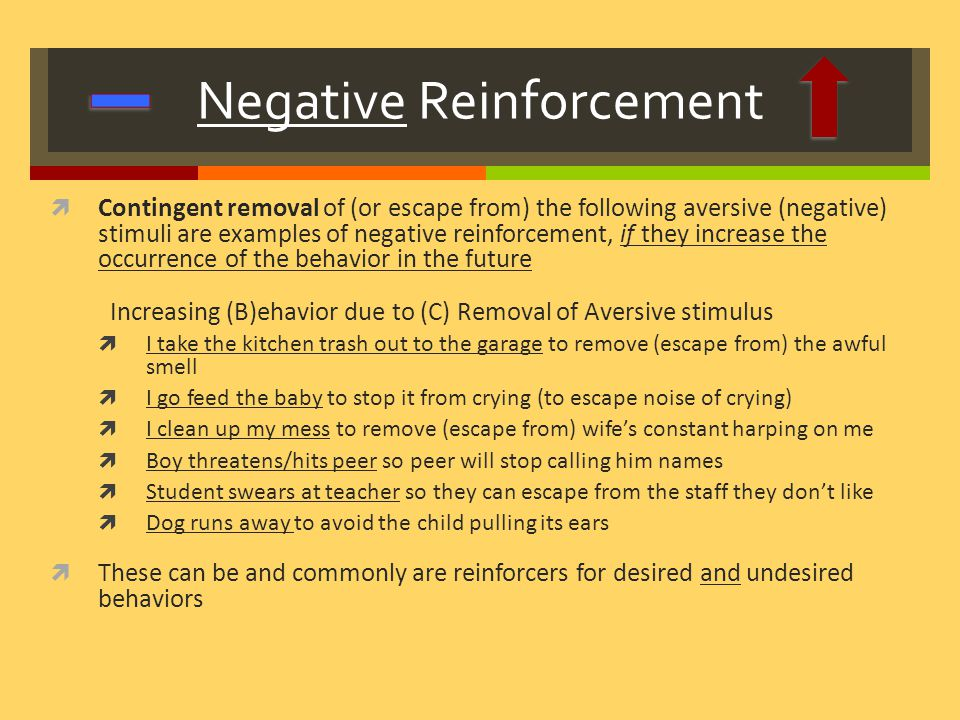 operant conditioning: positive and negative reinforcement essay According to huitt & hummel (1997), four methods are employed in operant conditioning: positive reinforcement, negative reinforcement, positive punishment, and negative punishment a positive reinforcer is any outcome that tends to maintain or accelerate the recurrence of a behaviour that is made to follow (ackerman, 1972.