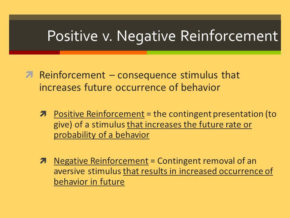 Positive v. Negative Reinforcement