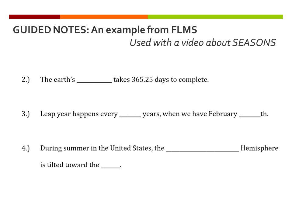 GUIDED NOTES: An example from FLMS