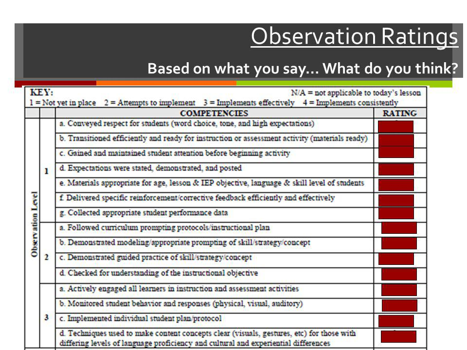 Observation Ratings Based on what you say… What do you think