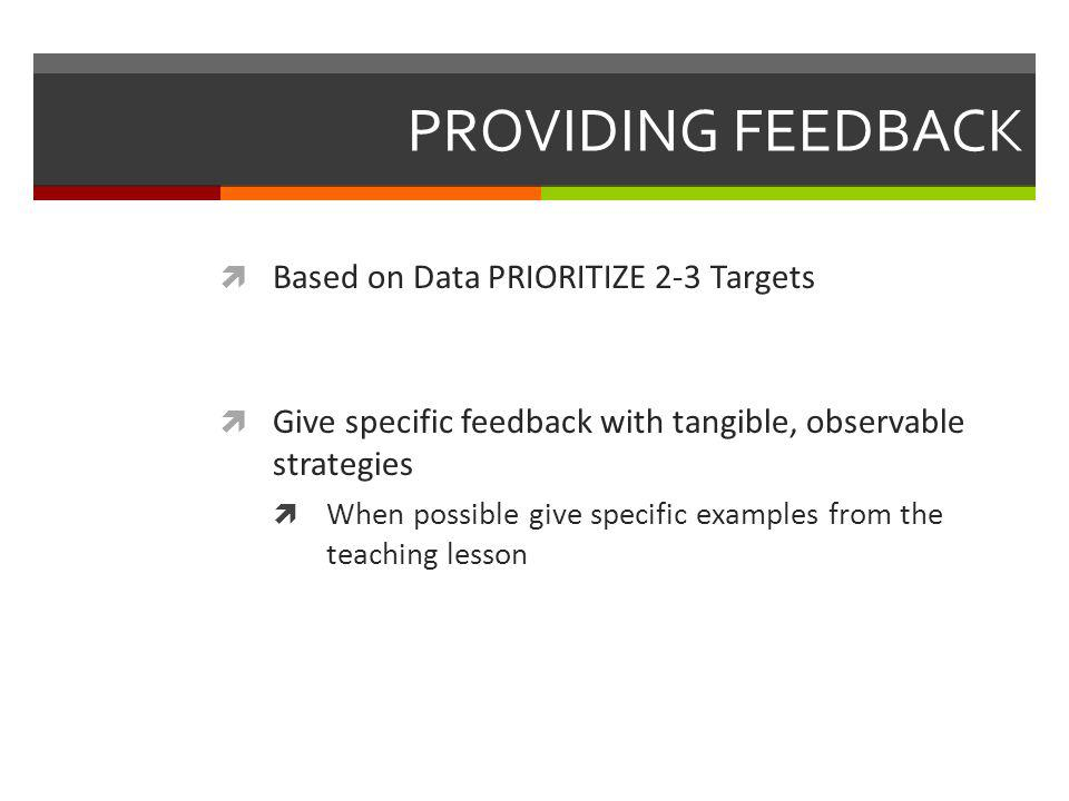 PROVIDING FEEDBACK Based on Data PRIORITIZE 2-3 Targets