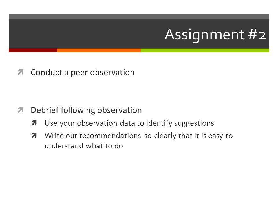 Assignment #2 Conduct a peer observation Debrief following observation