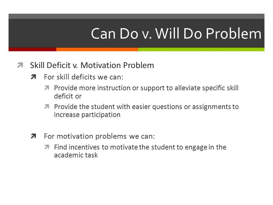 Can Do v. Will Do Problem Skill Deficit v. Motivation Problem