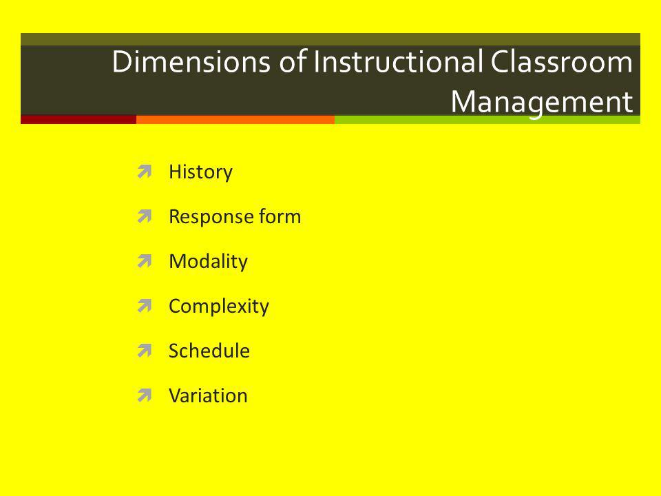 Dimensions of Instructional Classroom Management