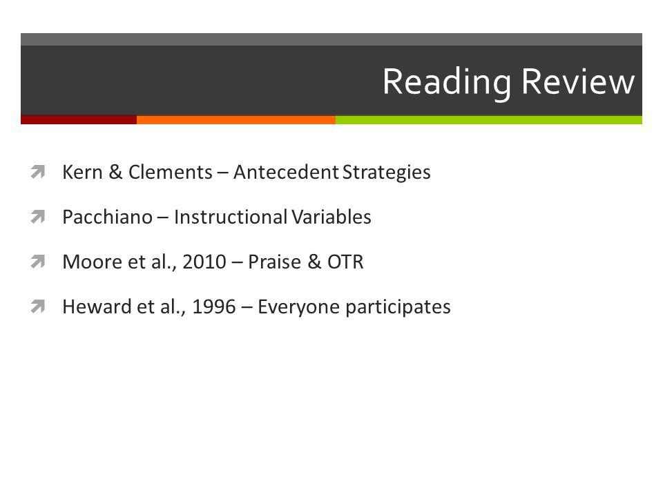 Reading Review Kern & Clements – Antecedent Strategies