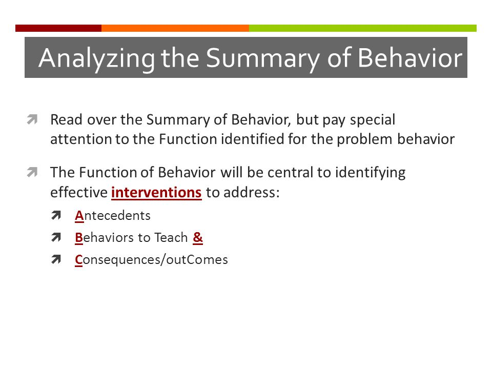 Analyzing the Summary of Behavior