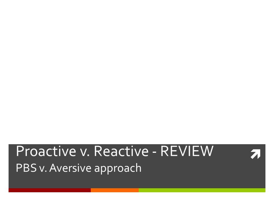 Proactive v. Reactive - REVIEW PBS v. Aversive approach