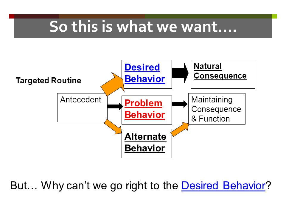 So this is what we want…. Desired Behavior. Natural Consequence. Targeted Routine. Antecedent. Maintaining Consequence & Function.