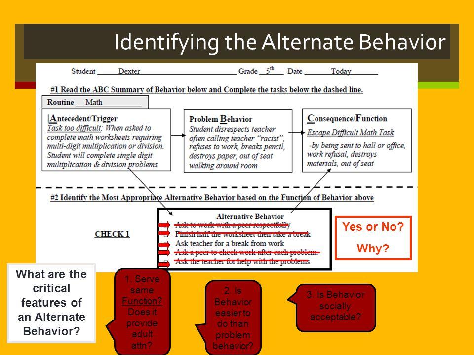 Identifying the Alternate Behavior
