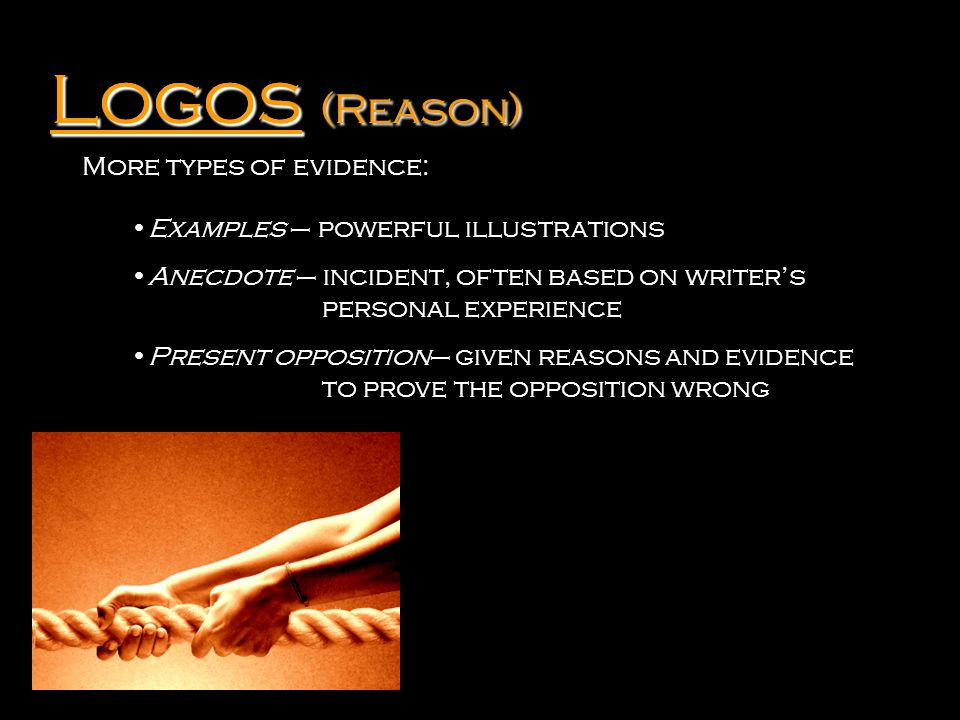 Logos Logos (Reason) More types of evidence: