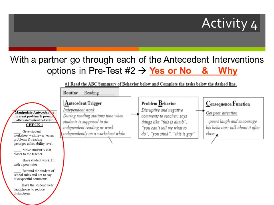 Activity 4 With a partner go through each of the Antecedent Interventions options in Pre-Test #2  Yes or No & Why.