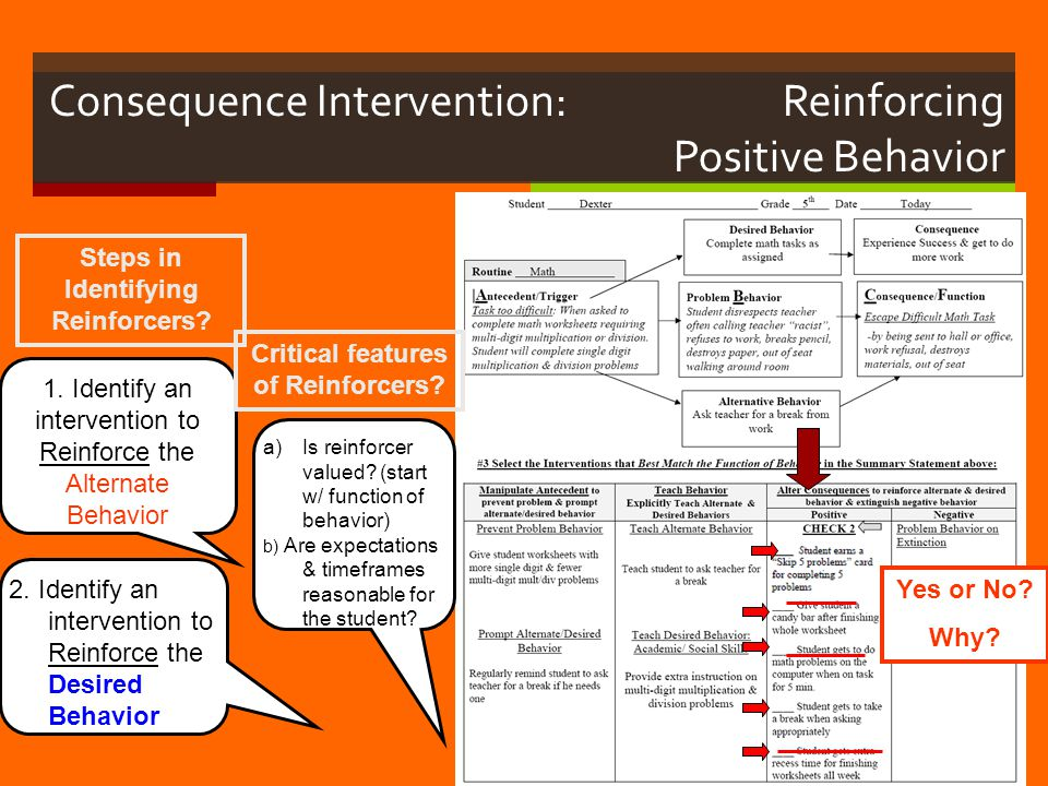 Consequence Intervention: Reinforcing Positive Behavior