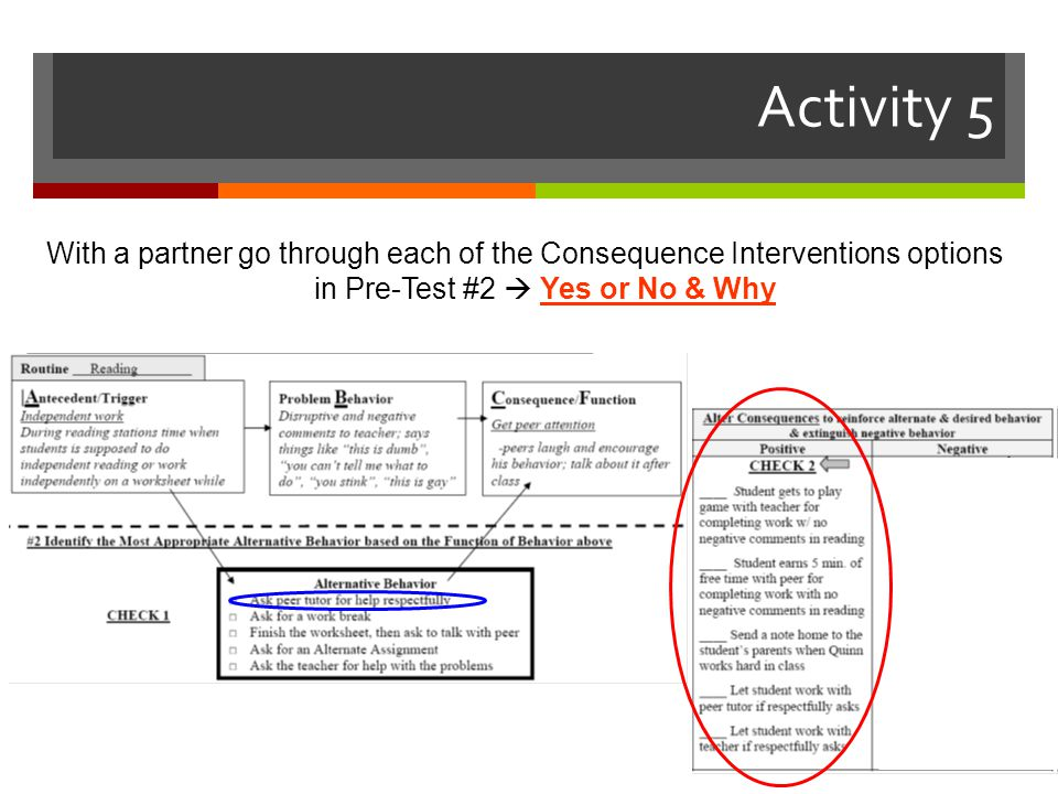 Activity 5 With a partner go through each of the Consequence Interventions options in Pre-Test #2  Yes or No & Why.