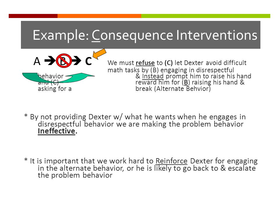 Example: Consequence Interventions