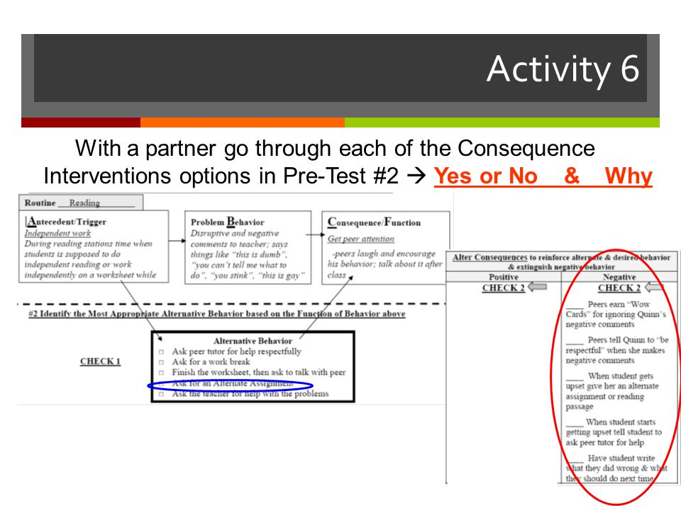 Activity 6 With a partner go through each of the Consequence Interventions options in Pre-Test #2  Yes or No & Why.