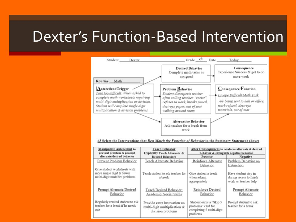 Dexter's Function-Based Intervention