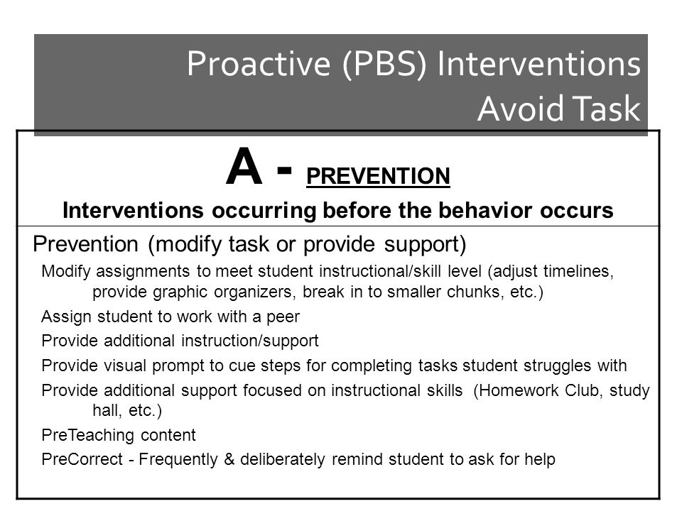 Proactive (PBS) Interventions Avoid Task