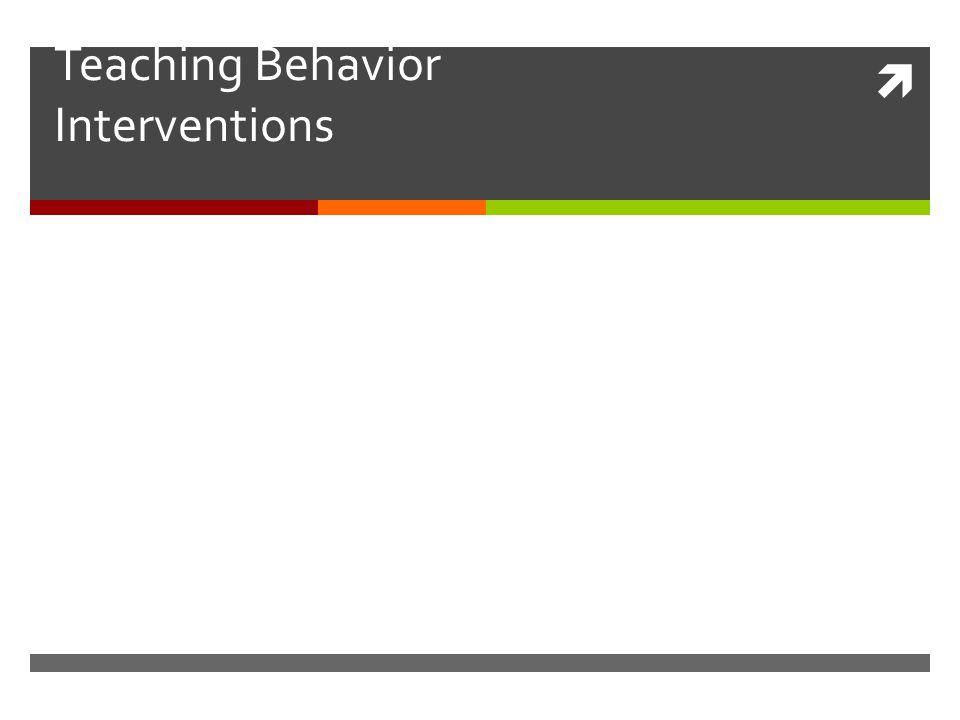 Teaching Behavior Interventions