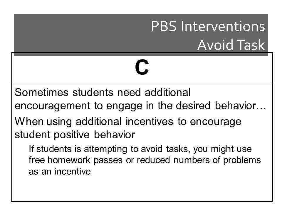 PBS Interventions Avoid Task