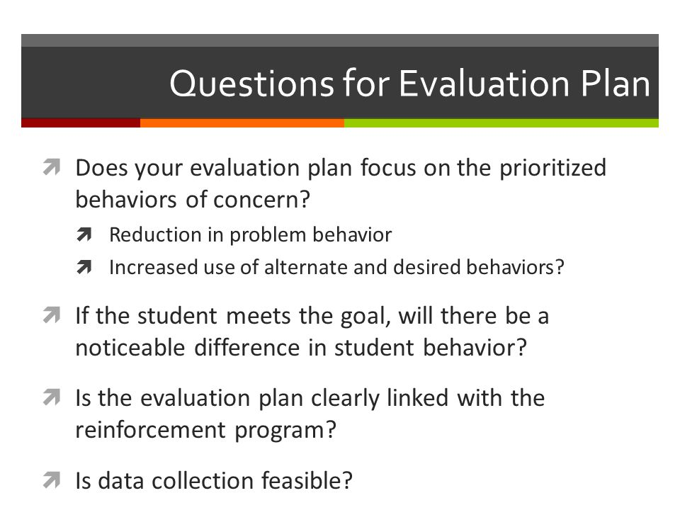 Questions for Evaluation Plan
