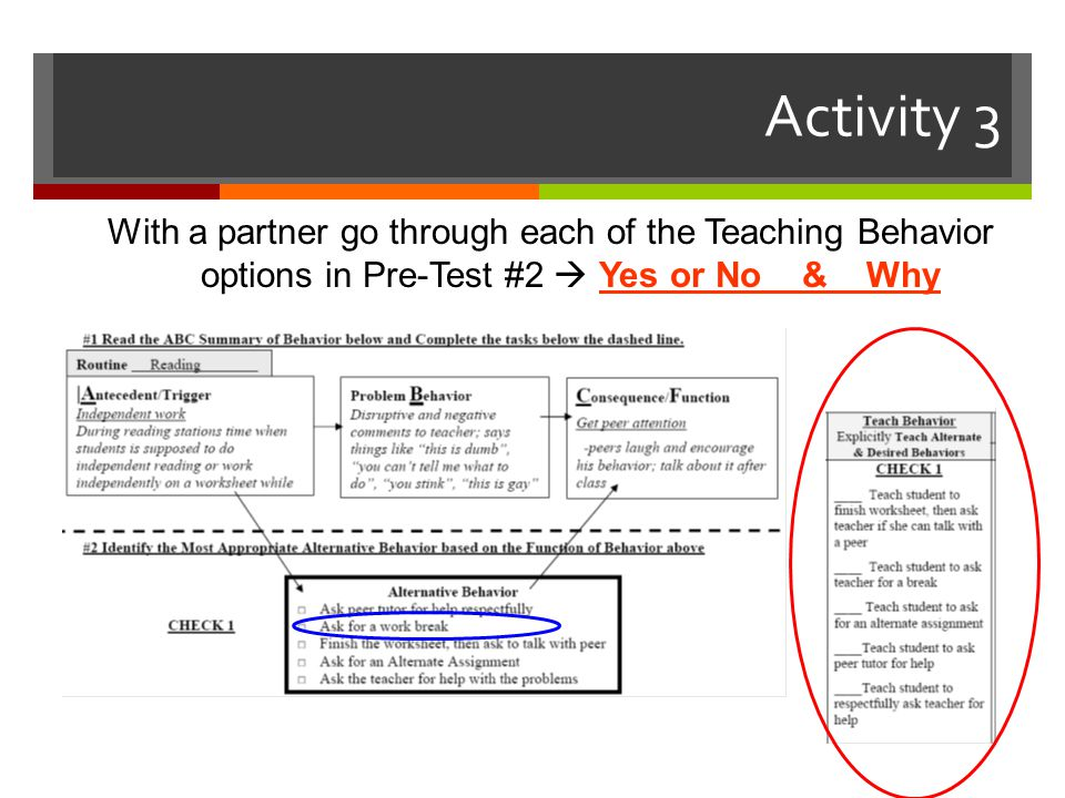 Activity 3 With a partner go through each of the Teaching Behavior options in Pre-Test #2  Yes or No & Why.