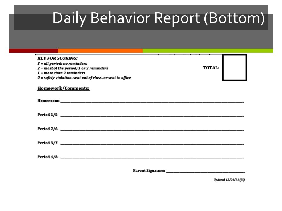 Daily Behavior Report (Bottom)