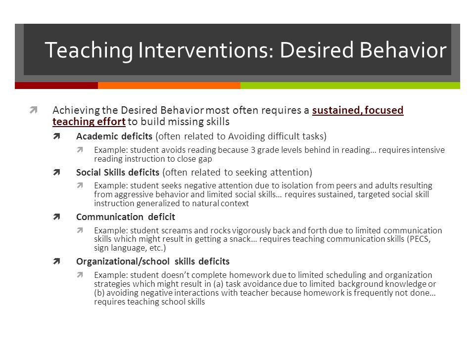 Teaching Interventions: Desired Behavior