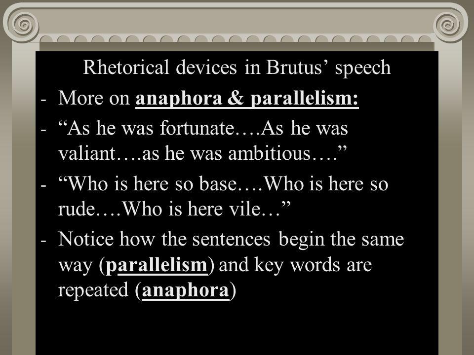 Rhetorical devices in Brutus' speech
