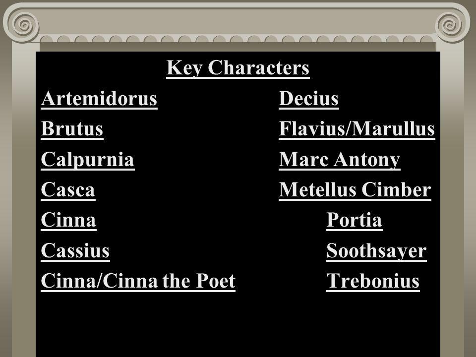 Act II, Scene i Key Characters Artemidorus Decius