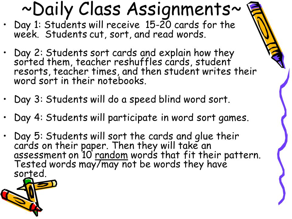 ~Daily Class Assignments~