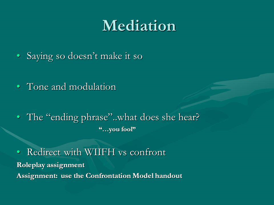 Mediation Saying so doesn't make it so Tone and modulation