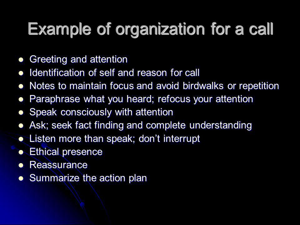 Example of organization for a call