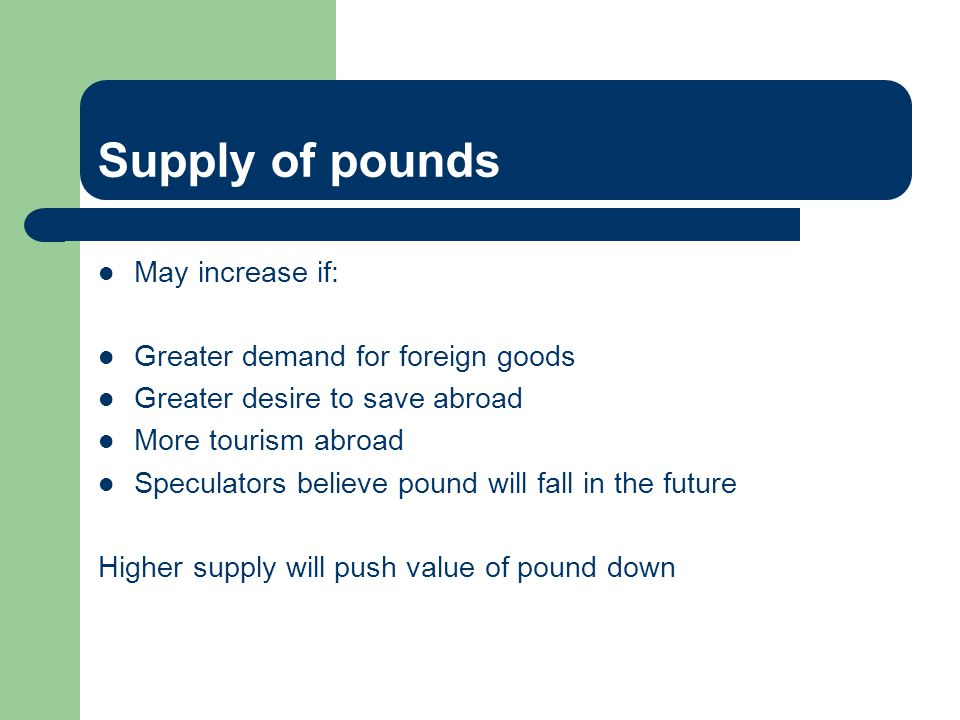 Supply of pounds May increase if: Greater demand for foreign goods