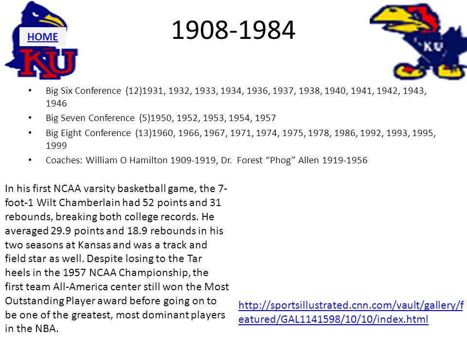 1908-1984 HOME. Big Six Conference (12)1931, 1932, 1933, 1934, 1936, 1937, 1938, 1940, 1941, 1942, 1943, 1946.