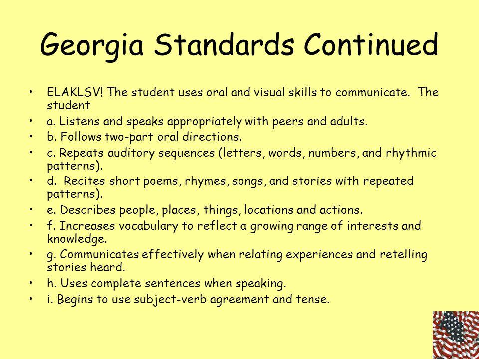 Georgia Standards Continued