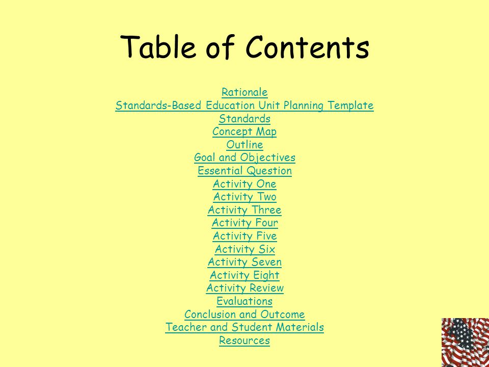 Table of Contents Rationale