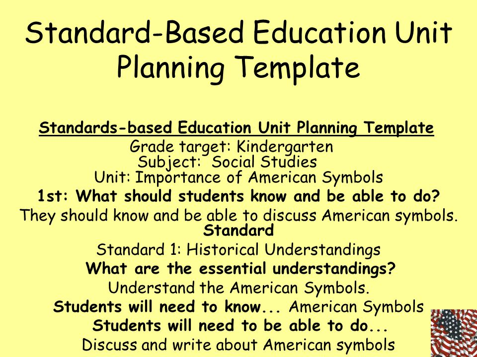 Standard-Based Education Unit Planning Template