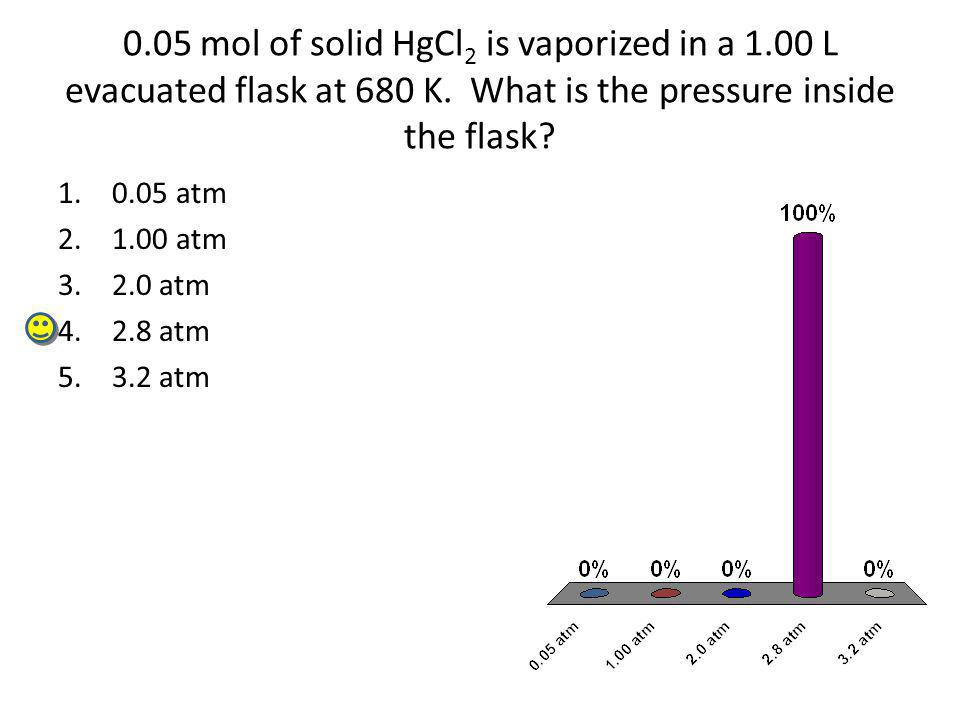 05 mol of solid HgCl2 is vaporized in a 1