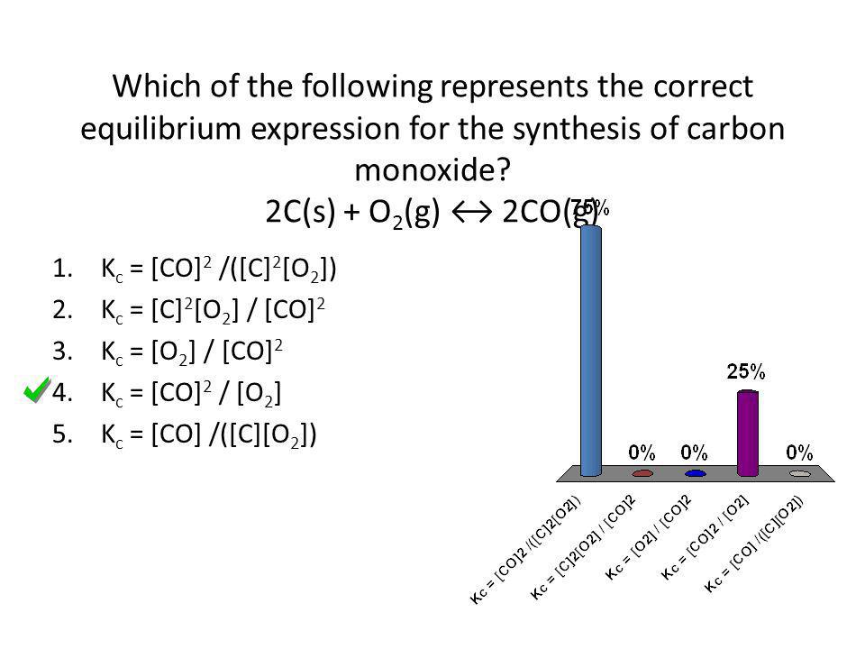 Which of the following represents the correct equilibrium expression for the synthesis of carbon monoxide 2C(s) + O2(g) ↔ 2CO(g)