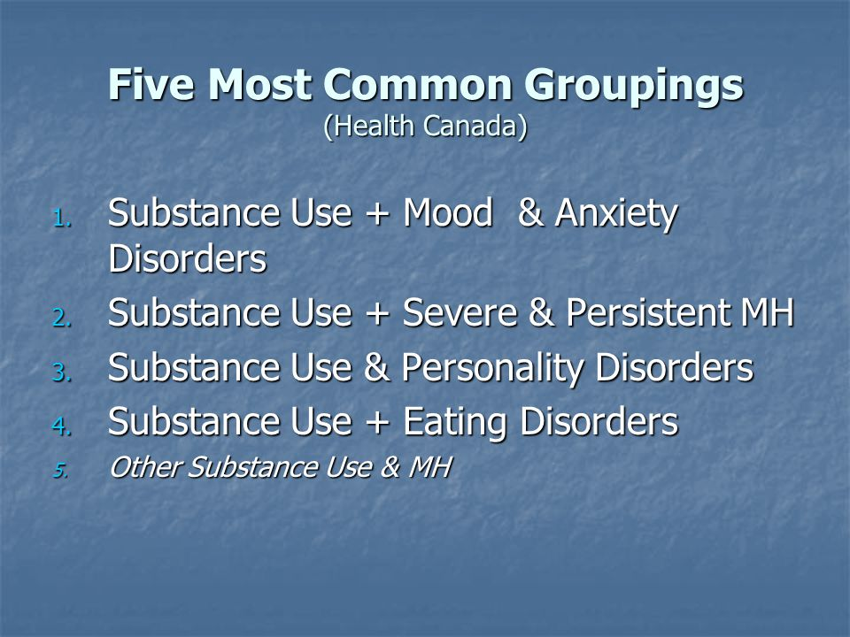 Five Most Common Groupings (Health Canada)