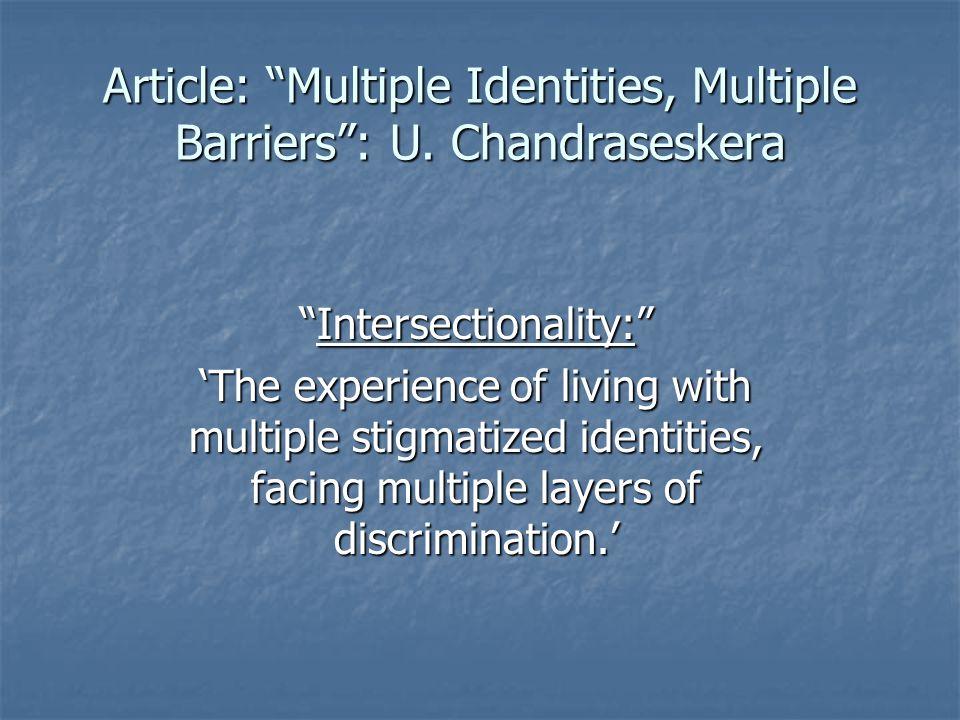 Article: Multiple Identities, Multiple Barriers : U. Chandraseskera